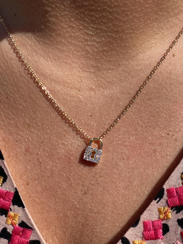 Gold Rhinestone Lock Necklace
