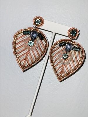 Mauve Rhinestone Leaf Earrings