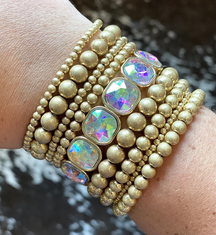 Gold Set of 9 Statement Bracelets