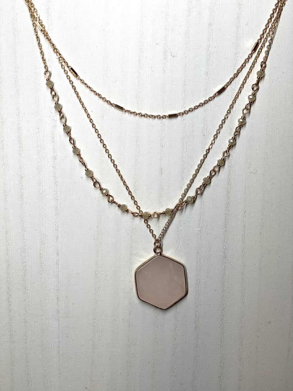 Natural Stone 3 Layer Necklace
