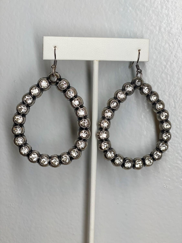 Silver Rhinestone Teardrop Earrings