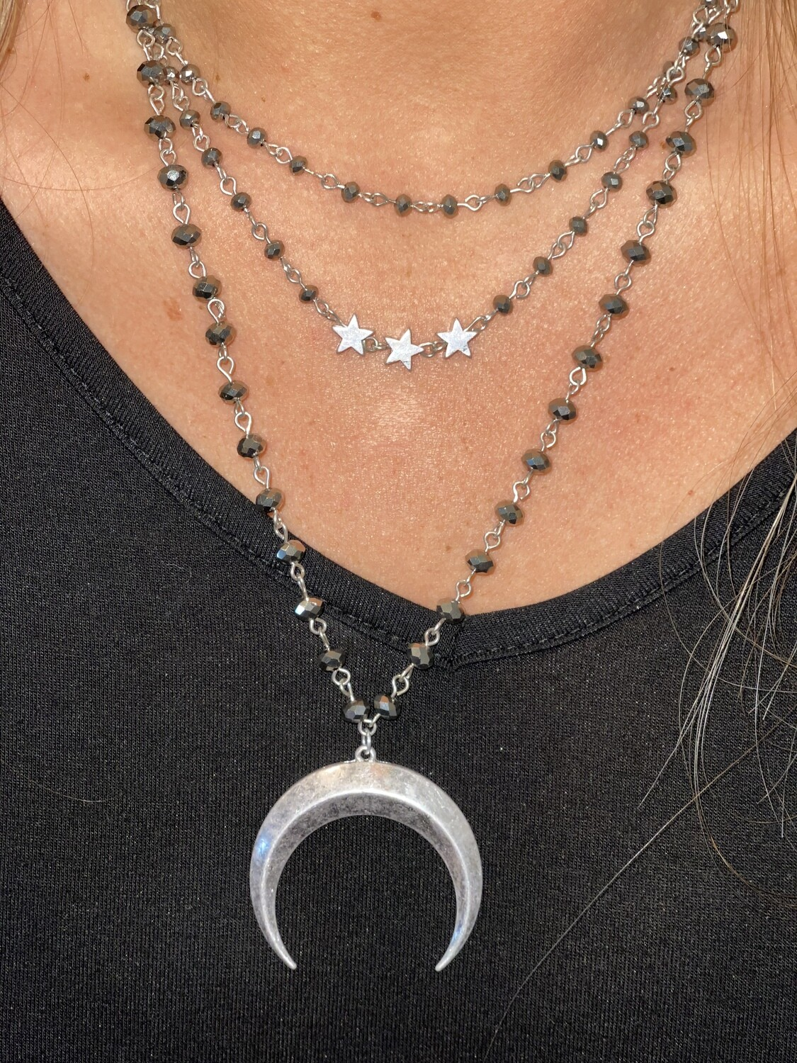 Silver Sparkle Bead Layered Necklace