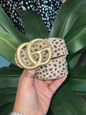 Tan Cheetah Dot Matte Gold Belt