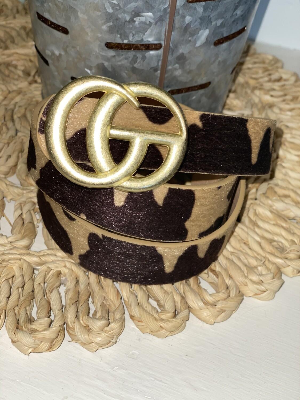 Tan Cow Print Matte Gold Belt