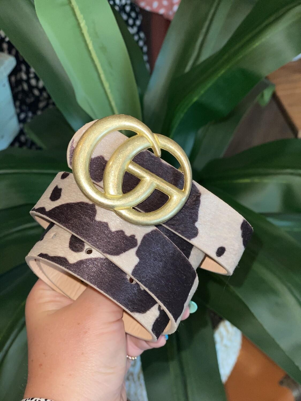 Cream Cow Print Matte Gold Belt