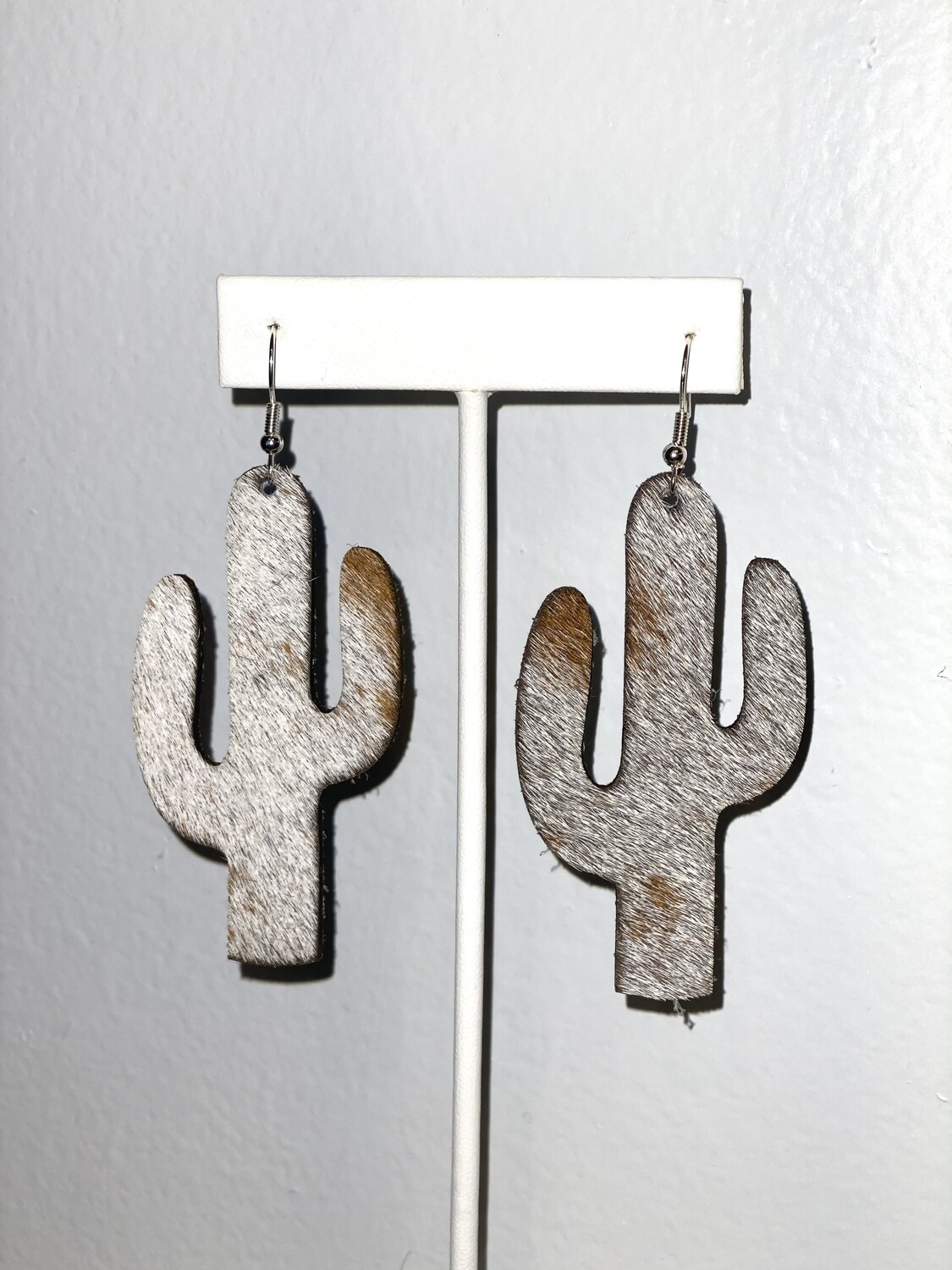 White Cowhide Cactus Earrings