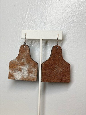 Brown Cow Tag Earrings