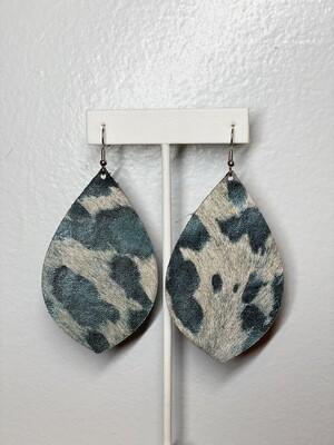 Blue Metallic Cowhide Earrings
