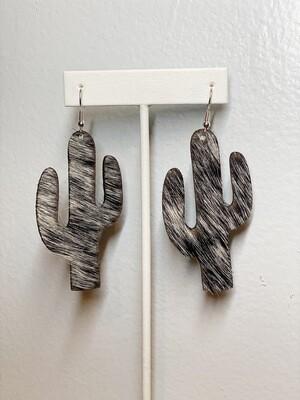 Black & White Cowhide Cactus Earrings