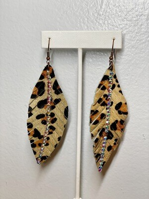 Cheetah Rhinestone Feather Earrings