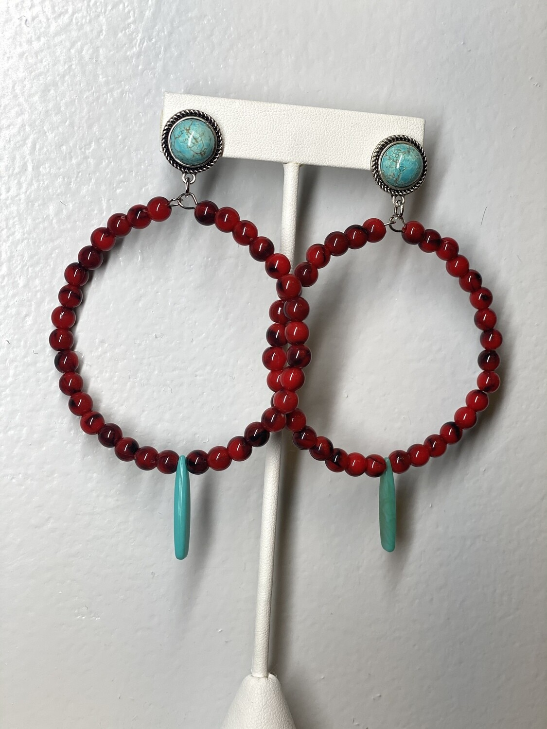 Red Beaded Hoop With Turquoise Post Earrings