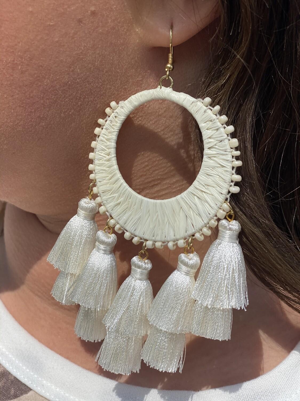 Ivory Raffia & Tassel Earrings