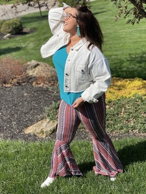Colorful Mixed Print Flare Pants