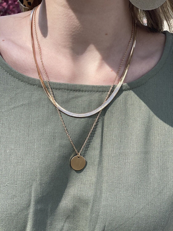 Gold Harringbone Layered Necklace