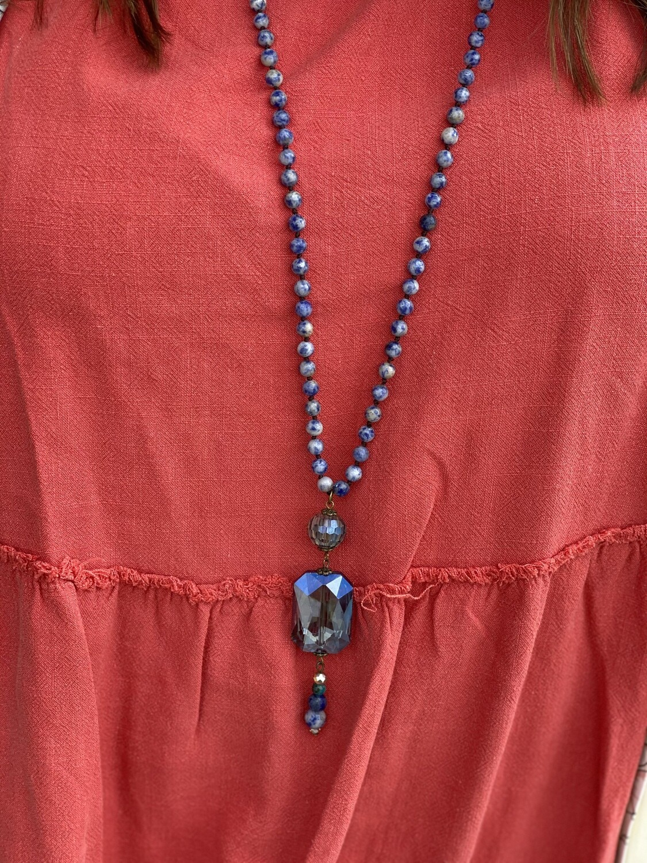 CS Beaded Necklace with Jewel Pendant