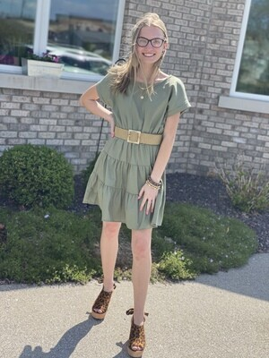 Olive Tiered Dress With Belt
