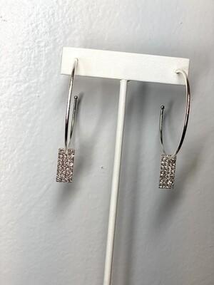 Silver Rhinestone Rectangle Hoops