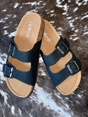 Black Two Strap Sandal