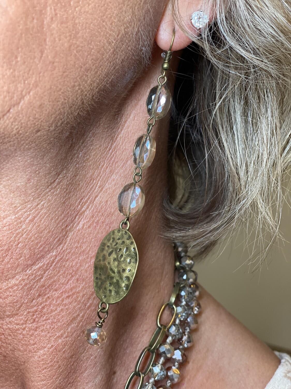 Brass Crystal Dangle Earrings