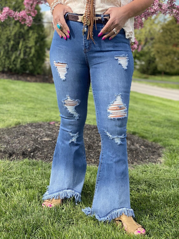 Bleach Wash High Waist Distressed Fringe Jeans