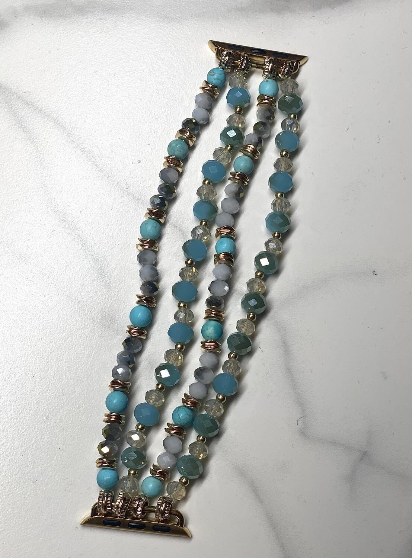 Turquoise Semi Precious Beaded Watch Band