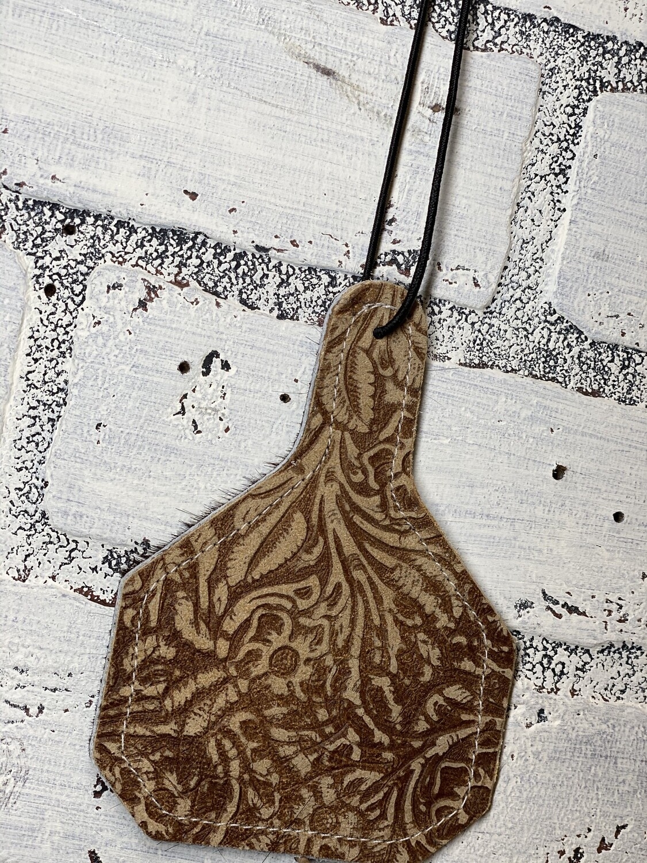 Brown Tooled Leather/Cowhide Car Freshener