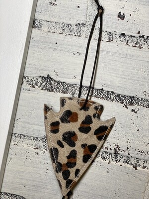 Cheetah Arrowhead Leather/Cowhide Car Freshener