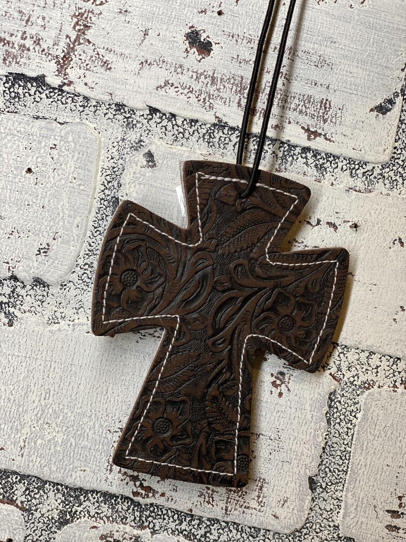 Dark Brown Tooled Cross Leather/Cowhide Car Freshener