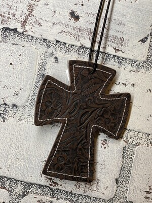 Dark Brown Tooled Cross Leather/Cowhide Car Freshener