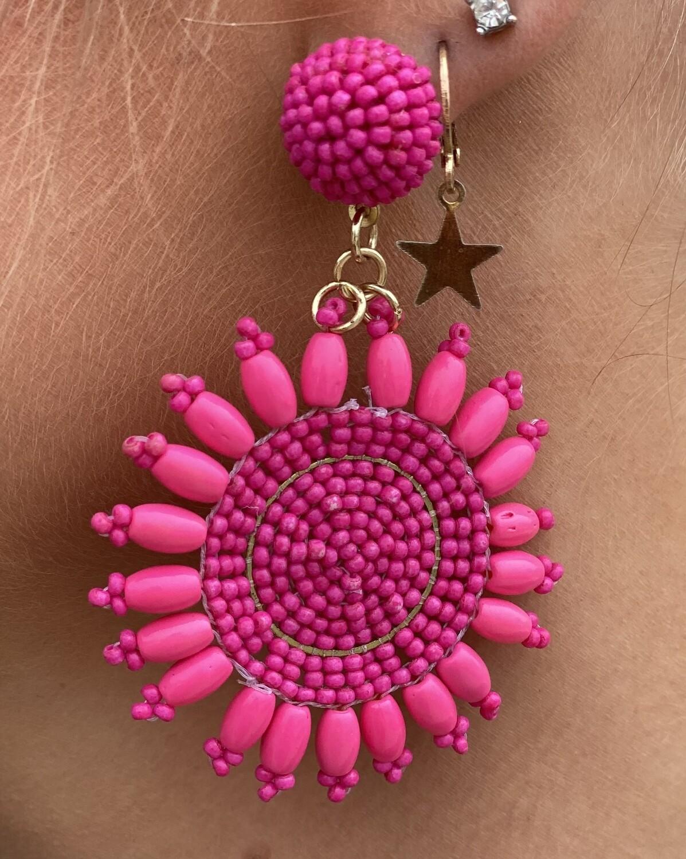 Hot Pink Circle Beaded Earrings