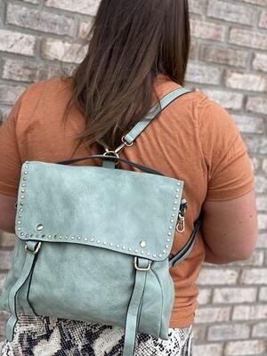 Seafoam Studded Backpack-To-Purse