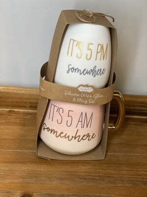 It's Five O'Clock Somewhere Silicone Wine & Ceramic Mug Set