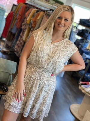 Beige Snake Smocked Waist Dress