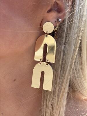 Gold Metal Rainbow Earrings