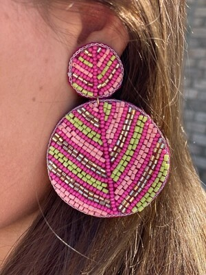 Pink & Lime Beaded Circle Earrings