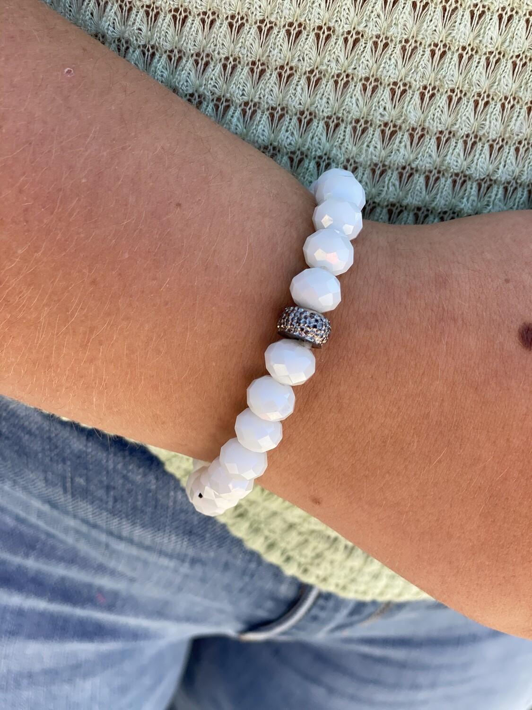Off White Sparkle Bead Bracelet
