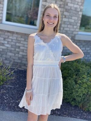 White Mini Dot Detailed Dress