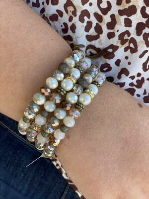 Cream & Brass Mixed Wrap Bracelet