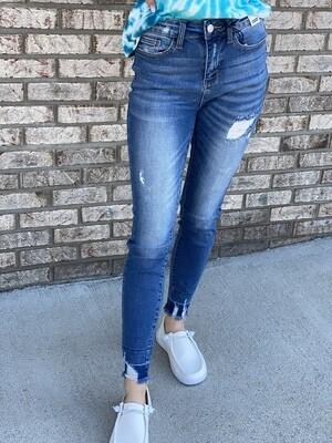 Judy Blue High Waist Release Hem Skinny Jeans