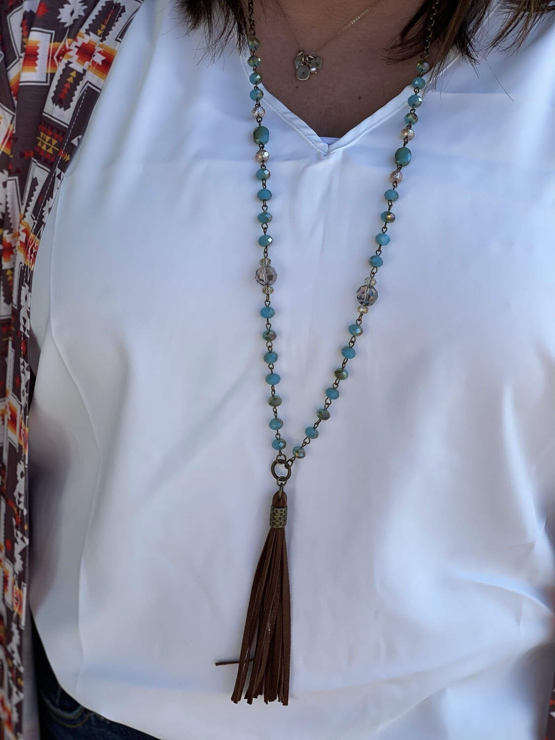 CS Beaded Long Necklace with Leather Tassel