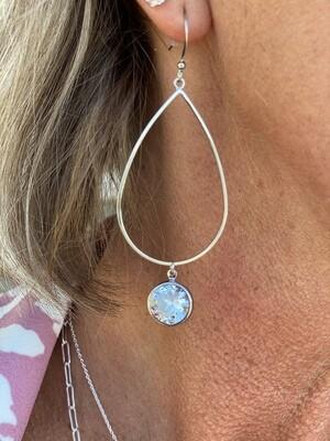 Silver Oval Jewel Dangle Earrings
