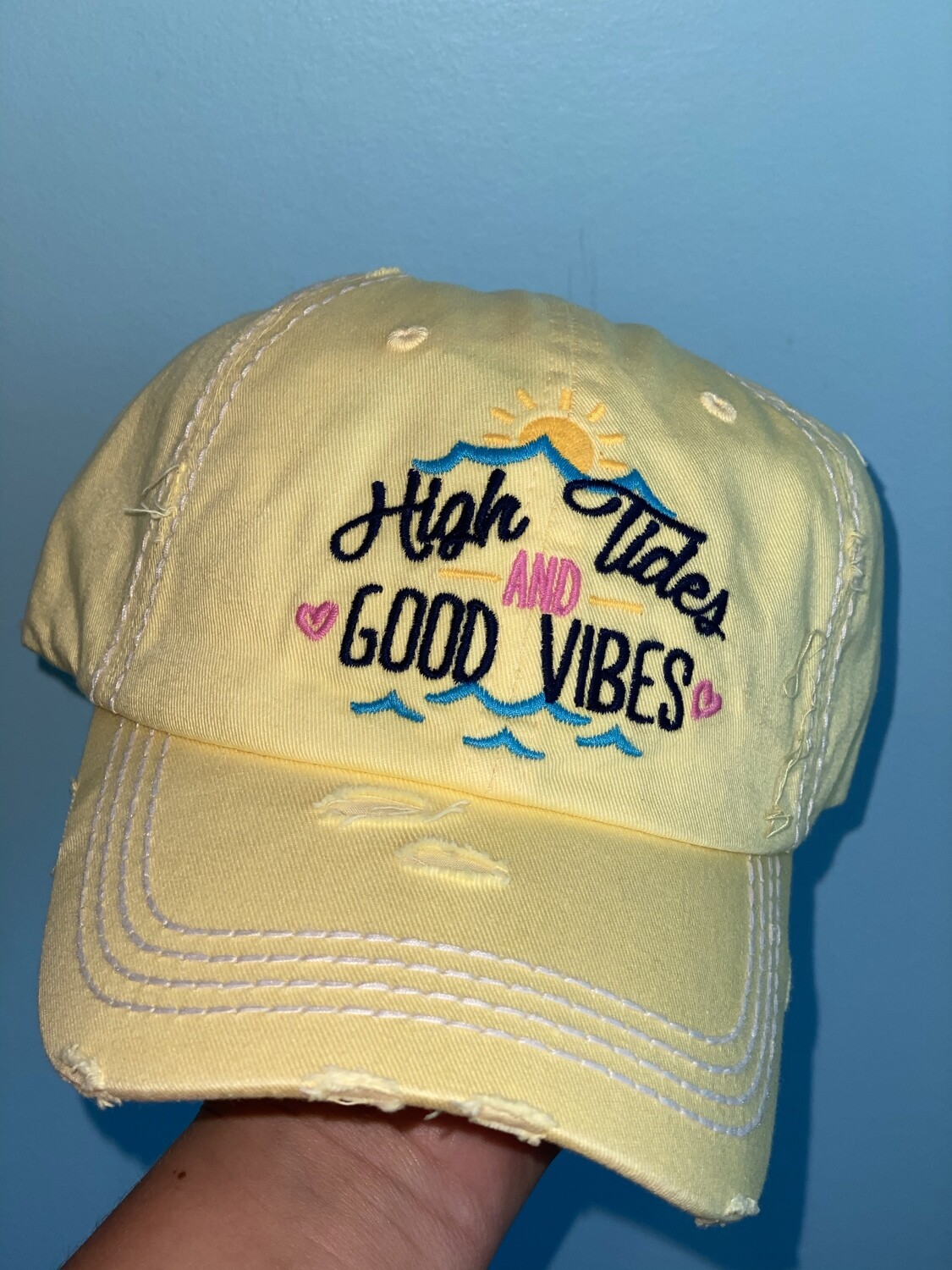 Yellow High Tides & Good Vibes Hat