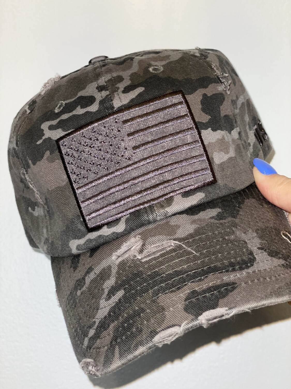 Grey Camo American Flag Hat