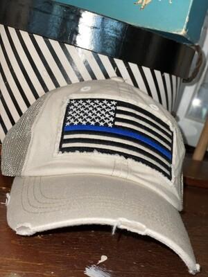 Cream Mesh Back Blue Line Hat