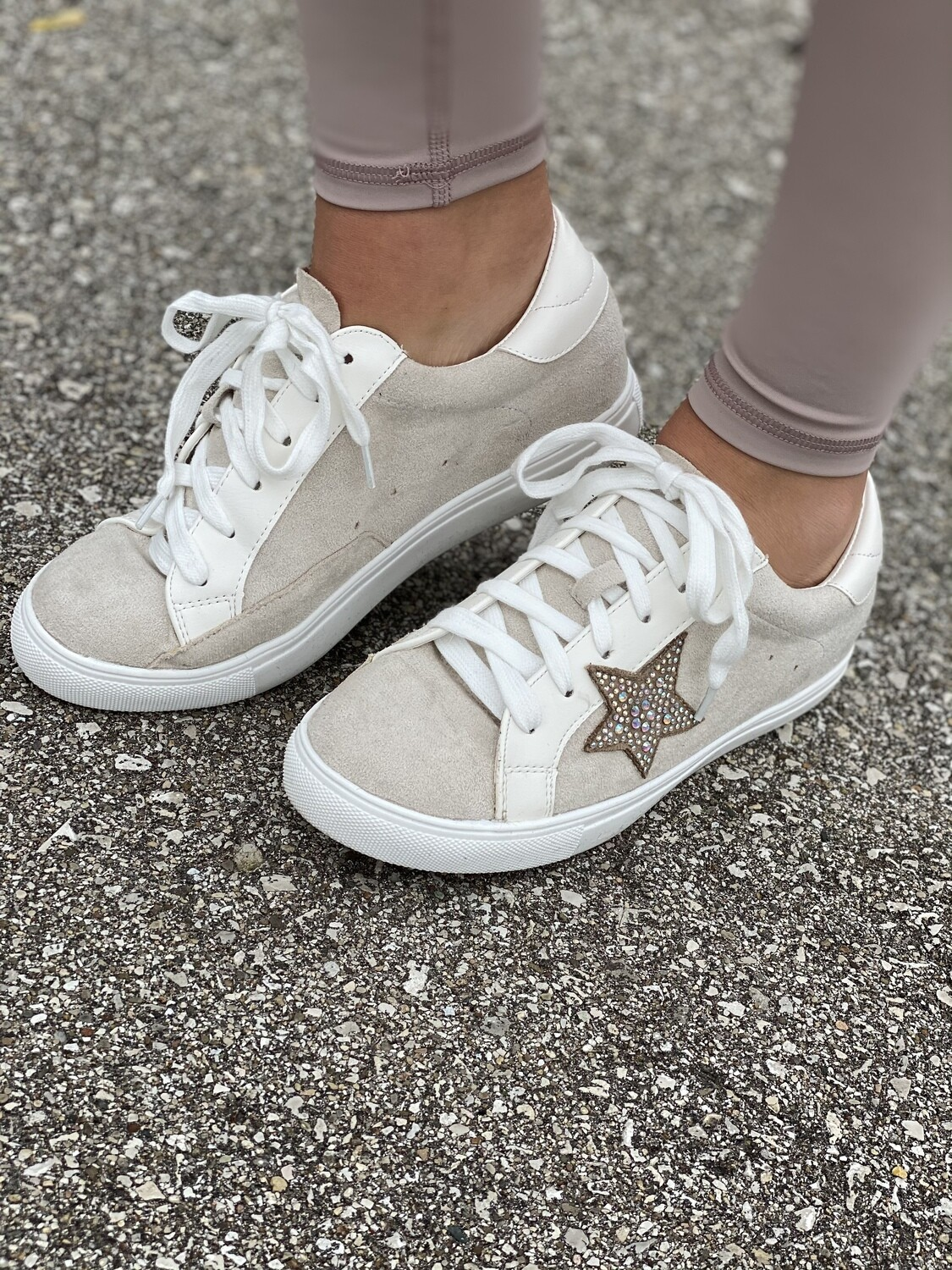 Beige Suede Star Sneakers