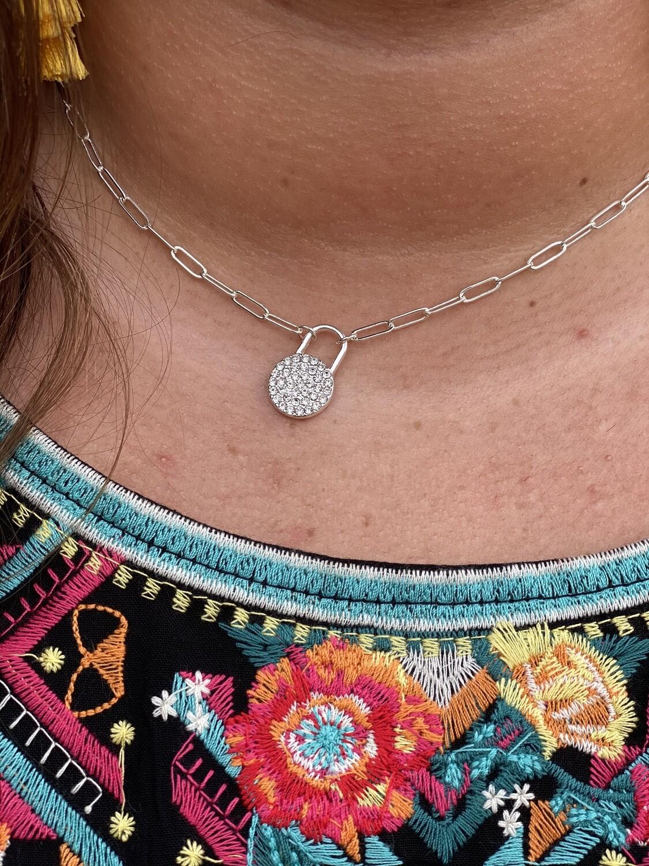 Silver Chain Rhinestone Necklace