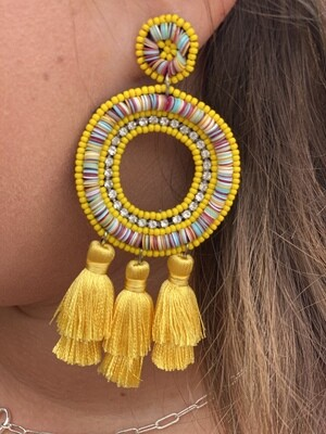 Yellow Colorful Open Circle Earrings