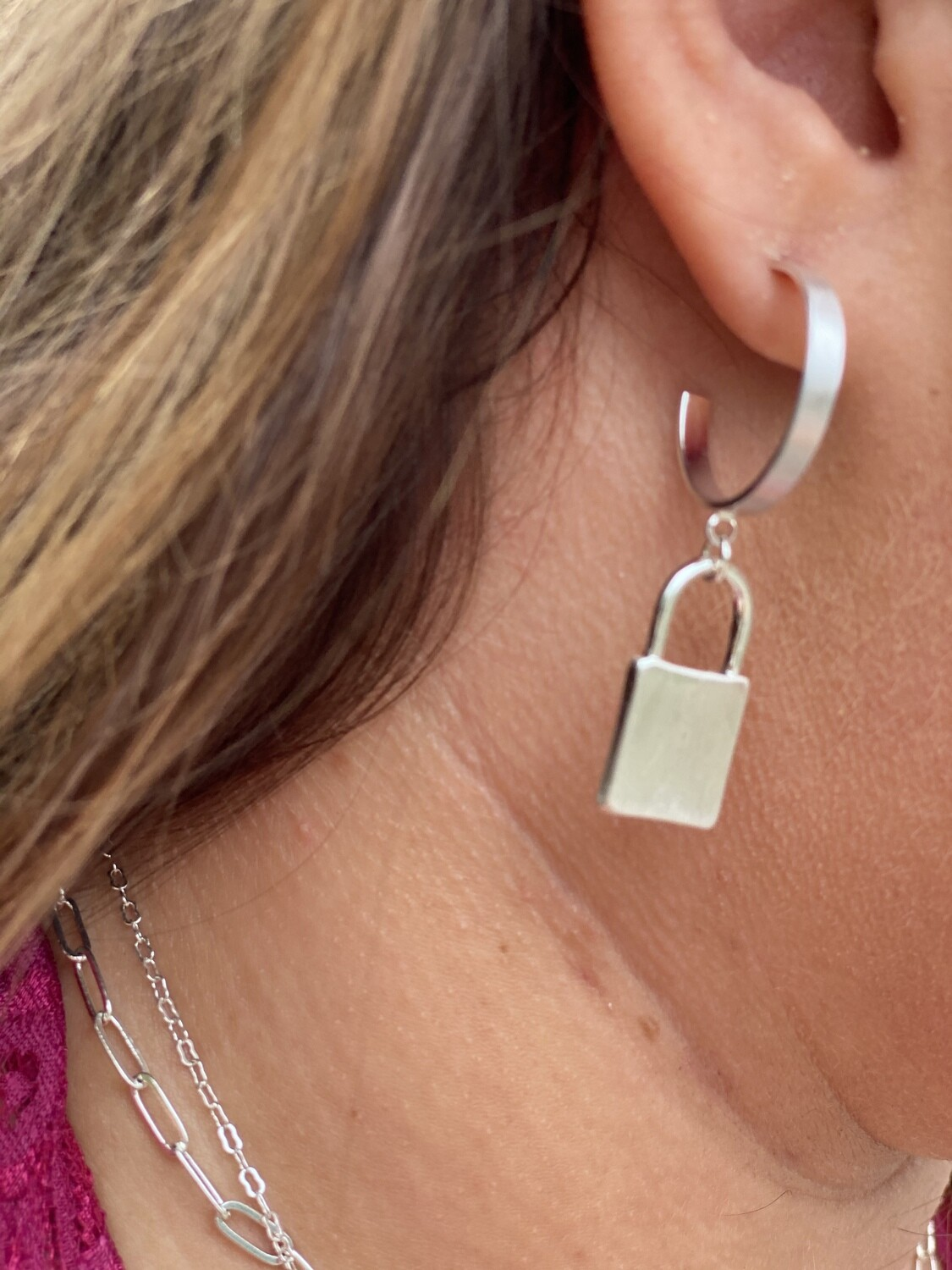 Muted Silver Lock Hoops