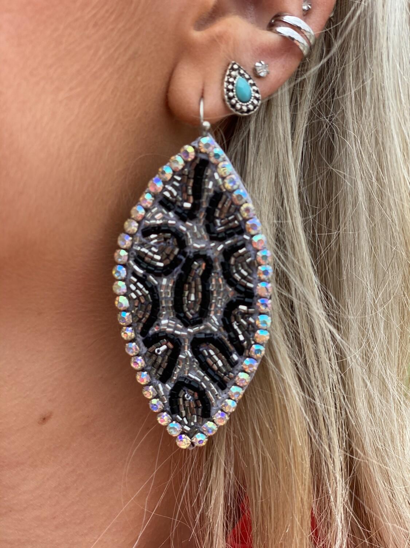 Beaded Cheetah Rhinestone Earrings