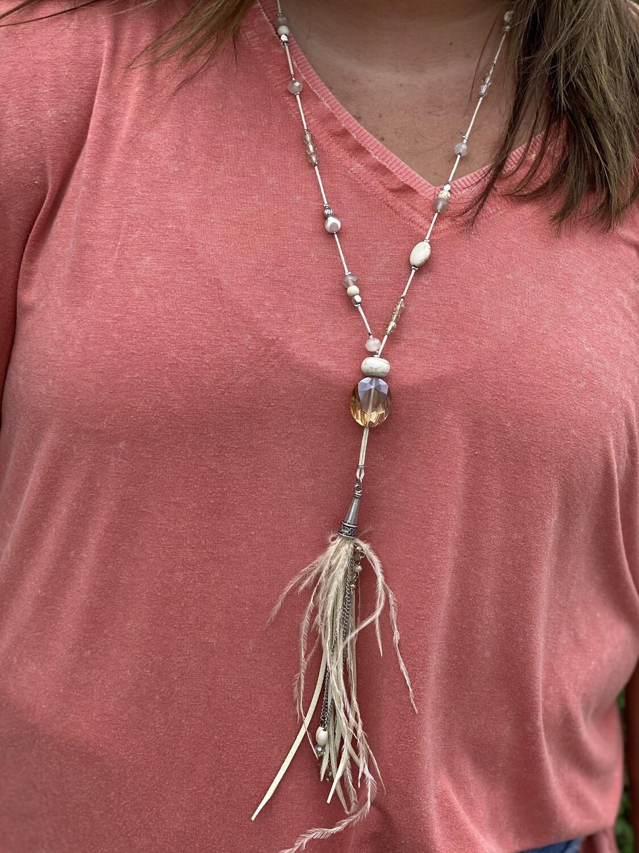 Cream Mineral Bead & Tassel Necklace